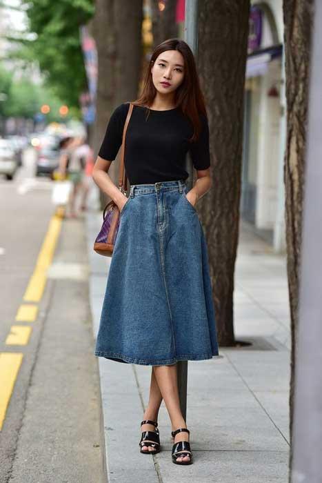 Trend Fashion Korea Yang Akan Booming Di Tahun 2019 - Below The Knee Denim Skirts
