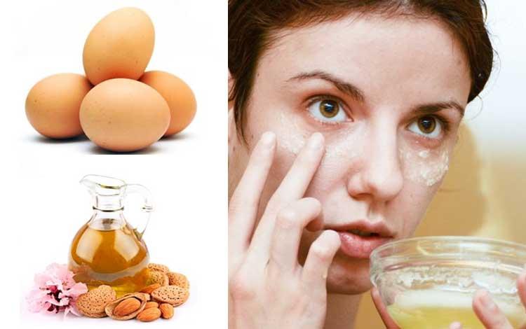 Tips Dan Cara Yang Mudah Dalam Merawat Area Sekitar Mata Pada Wanita - Masker telur yang dicampur minyak almond