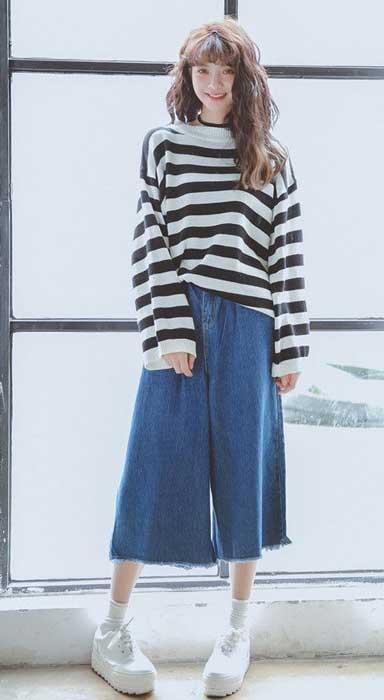 Tips Memilih Baju Untuk Wanita Yang Bertubuh Kurus - Gunakan baju dengan Motif Horizontal