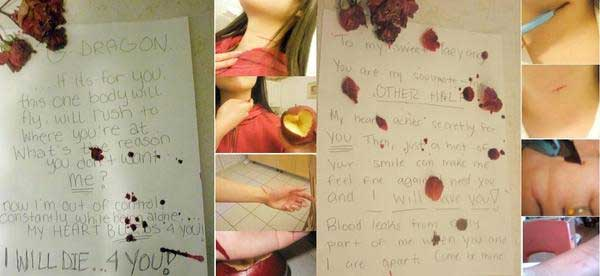 Kelakuan Para Fans - Mengirimkan Surat Berdarah Dari Hasil Melukai Diri Sendiri