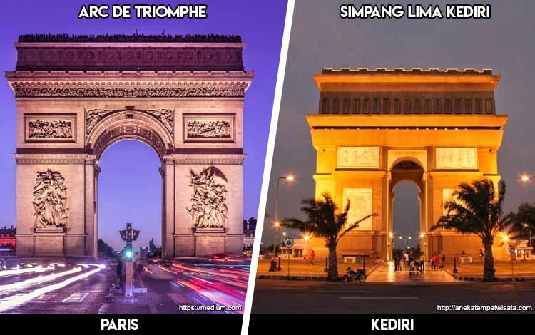 Tempat Wisata Di Indonesia Yang Mirip - Arc De Triomphe Paris dan Monumen Simpang Lima Kediri