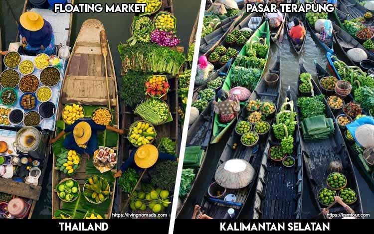 Tempat Wisata Di Indonesia Yang Mirip - Bangkok Floating Market dan Pasar Terapung Kuin