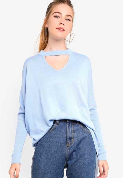 Sweater Wanita Terbaru - Choker Detail Knit Sweater