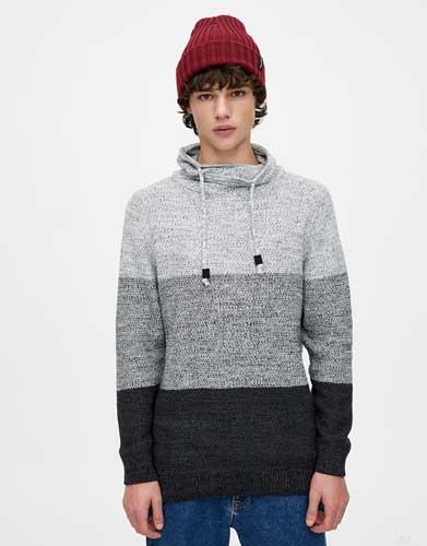 Sweater keren pria - Colour Block High Neck Sweater