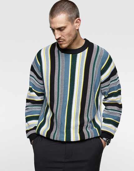 Sweater keren pria - Coloured Vertical Stripe Sweater