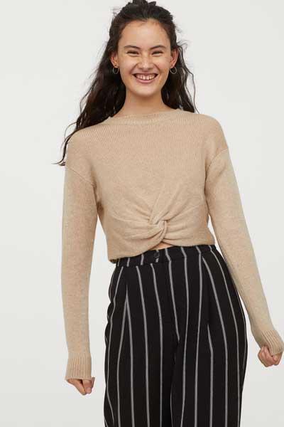 Sweater Wanita Terbaru - Cropped Knot Tie Sweater
