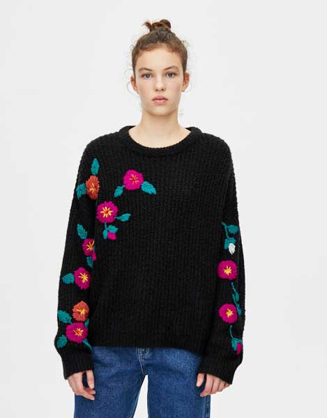 Sweater Wanita Terbaru - Floral Embroidery Sweater