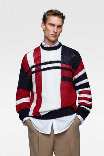 Sweater keren pria - Intarsia Colour Block Sweater