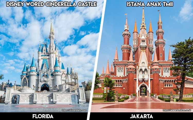 Tempat Wisata Di Indonesia Yang Mirip - Istana Cinderella Disney World dan Istana Anak-anak TMII