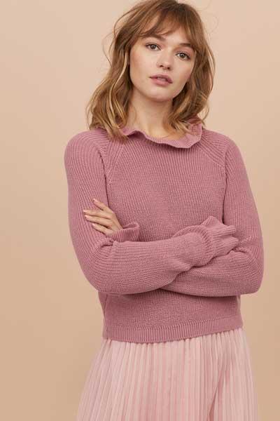 Sweater Wanita Terbaru - Knit Sweater with Ruffle Trim