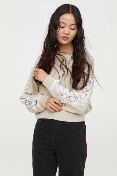 Sweater Wanita Terbaru - Knit Sweater with flower Lace