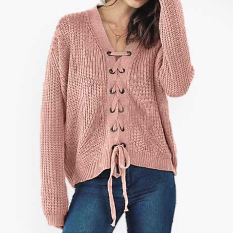 Sweater Wanita Terbaru - Lace up V Neck Solid Color Sweater