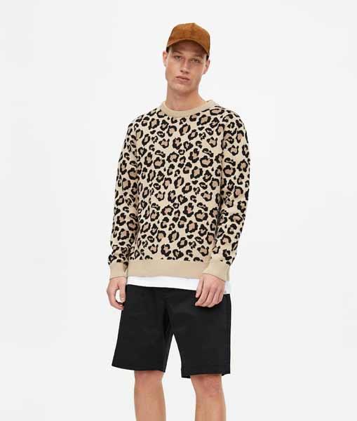 Sweater keren pria - Leopard Print Sweater