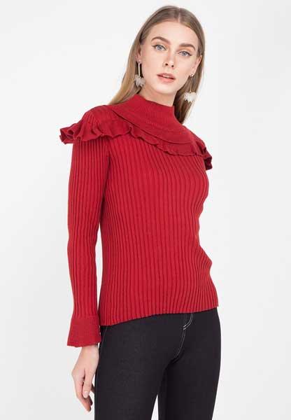 Sweater Wanita Terbaru - Maroon Shoulder Ruflles Sweater