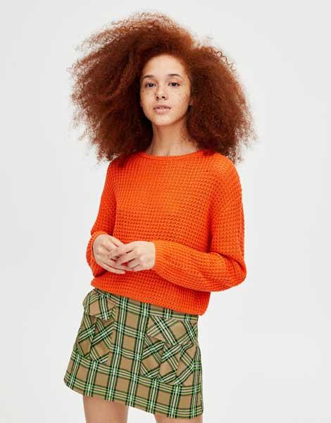 Sweater Wanita Terbaru - Orange O neck Open Knit Sweater