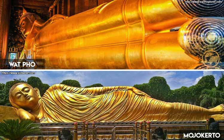 Tempat Wisata Indonesia Yang Mirip Luar Negeri - Patung Budha Tidur Wat Pho dan Patung Budha Mojokerto