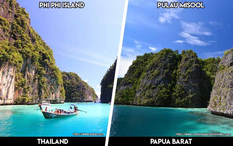 Tempat Wisata Di Indonesia Yang Mirip - Phi Phi Island dan Pulau Misool