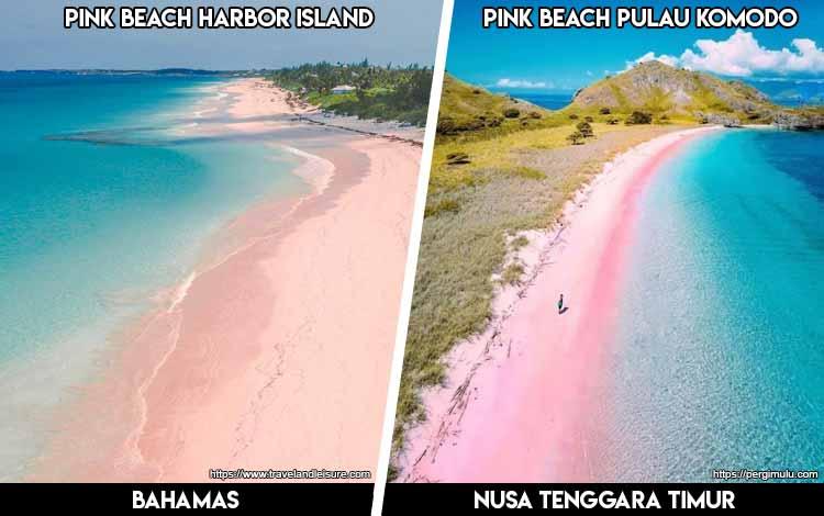 Tempat Wisata Di Indonesia Yang Mirip - Pink Beach Harbor Island dan Pink Beach Pulau Komodo