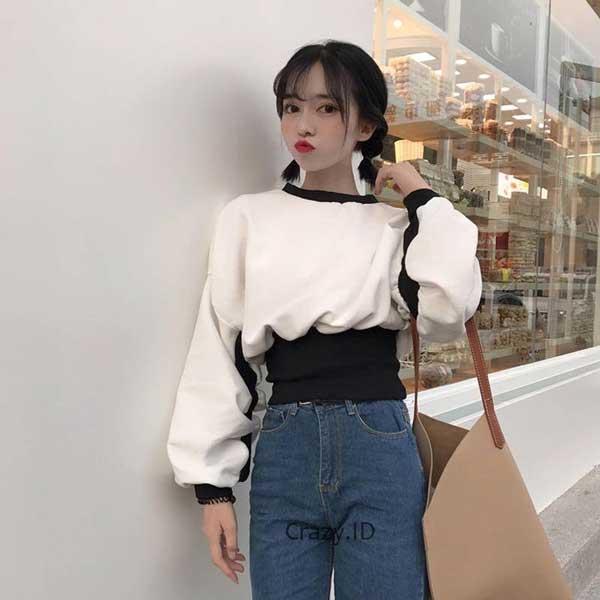 Sweater Wanita Terbaru - Ribbed Waist Sweater