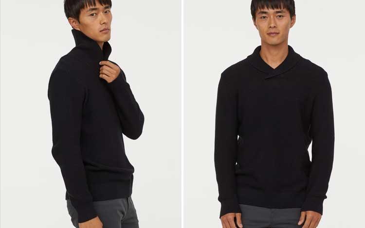 Sweater keren pria - Shawl collar Sweater