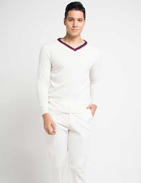 Sweater keren pria - Stripe V-neck Sweater
