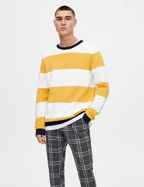 Sweater keren pria - Striped Knit Sweater