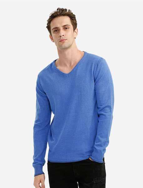 Sweater keren pria - V-neck Cotton Blend Knitwear
