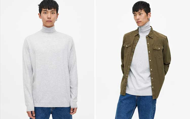 Sweater keren pria - Viscose High Neck Knit Sweater