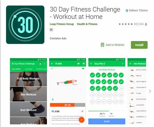 Rekomendasi Aplikasi Olahraga - 30 Day Fitness Challenge - Workout at Home