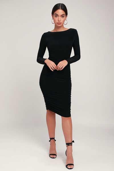 Pakaian seksi wanita tidak vulgar - Black Long Sleeve Bodycon Dress