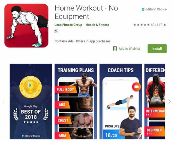 Rekomendasi Aplikasi Olahraga - Home Workout - No Equipment