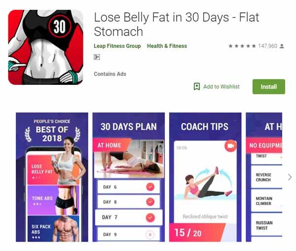 Rekomendasi Aplikasi Olahraga - Lose Belly Fat in 30 Days