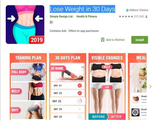 Rekomendasi Aplikasi Olahraga - Lose Weight in 30 Days