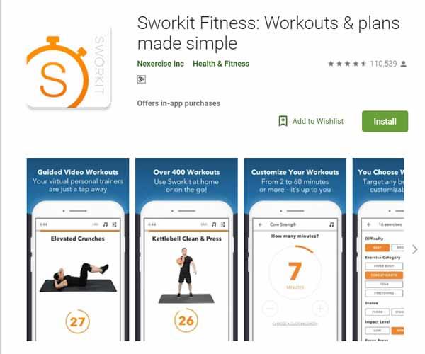 Rekomendasi Aplikasi Olahraga - Sworkit Fitness