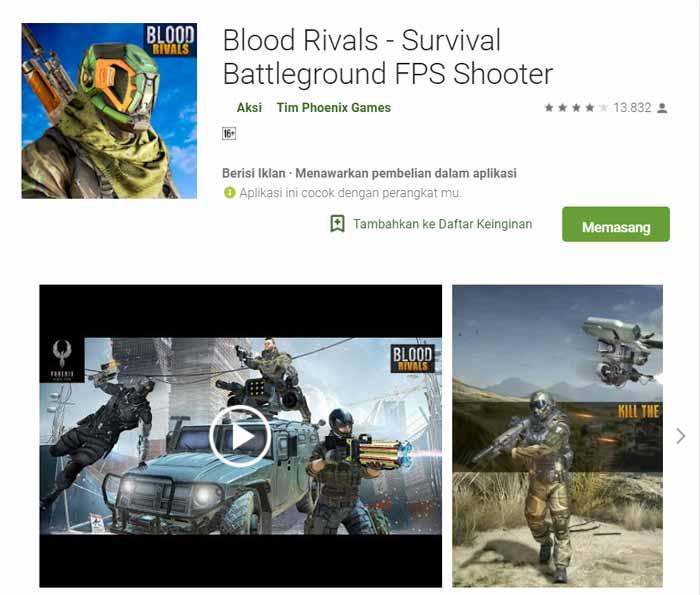 Game offline Terbaru 2019 - Blood Rivals - Survival Battleground FPS Shooter
