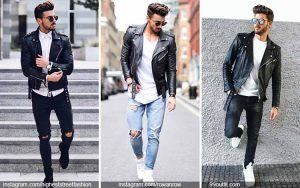 Inspirasi fashion pria terkini - Jaket kulit, kaos dan celana panjang