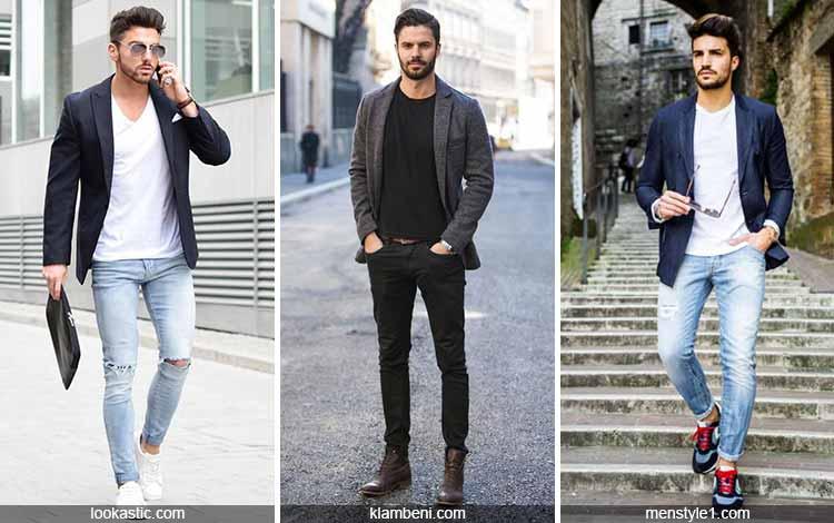 Inspirasi fashion pria terkini - Blazer, kaos dan celana panjang