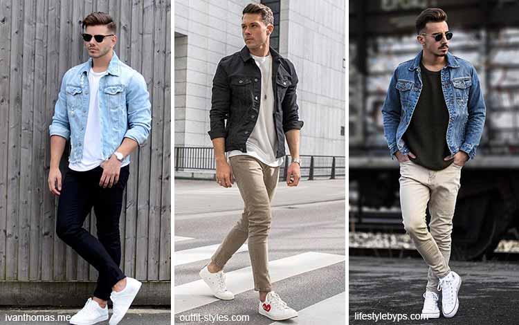 Inspirasi fashion pria terkini - Jaket jeans, kaos dan celana panjang