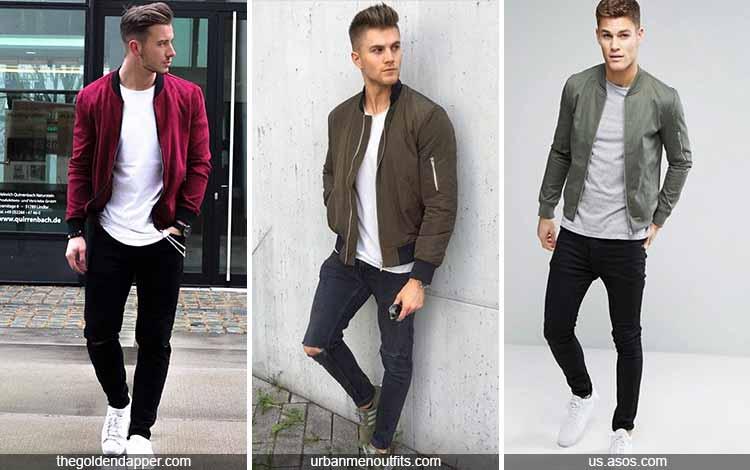 Inspirasi fashion pria terkini - Jaket bomber, kaos dan celana panjang