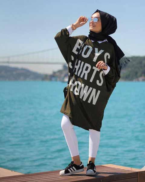 Mix n Match Hijab Terkini Yang Instagramable - Mix n match hijab dengan oversized tunic shirt