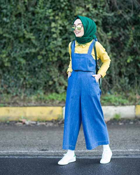 Mix n Match Hijab Terkini Yang Instagramable - Mix n match hijab lilit dengan overall