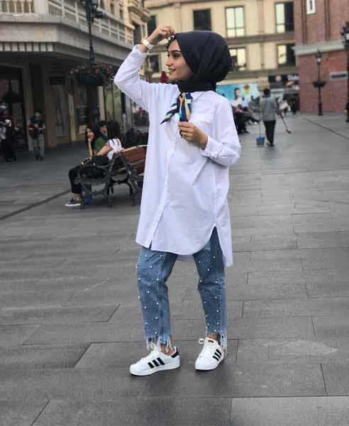 Mix n Match Hijab Terkini Yang Instagramable - Mix n match kemeja dengan celana jeans