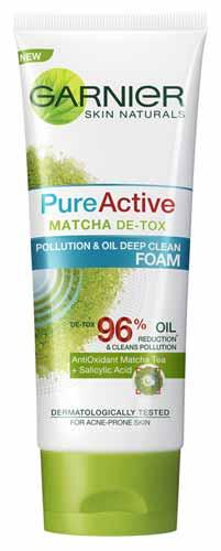 Rekomendasi Sabun Wajah Yang Bagus Untuk Kulit Berminyak - Garnier Pure Active Matcha Foam