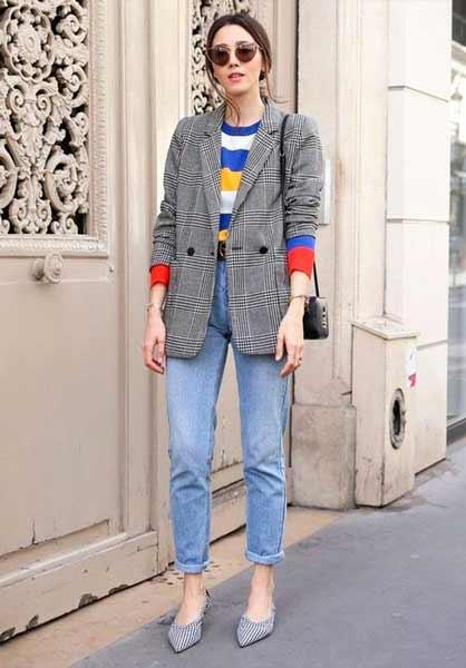 Inspirasi Outfit Streetwear Yang Ramah Di Kantong - Perpaduan blazer dengan candy color rainbow striped sweatshirt