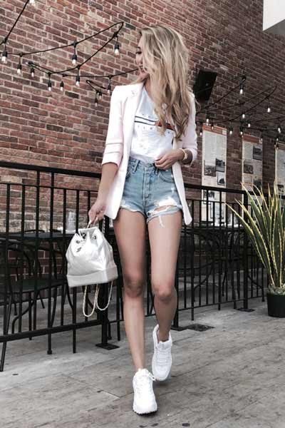 Inspirasi Outfit Streetwear Yang Ramah Di Kantong - Perpaduan blazer, t-shirt dan short pants