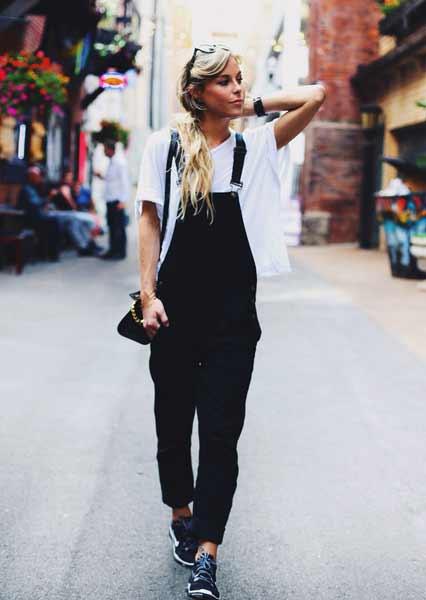 Inspirasi Outfit Streetwear Yang Ramah Di Kantong - Perpaduan t-shirt putih dengan overall