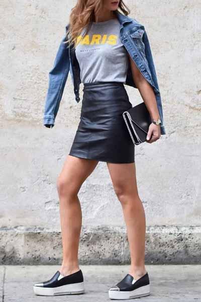 Aneka Jenis Bawahan Wanita Yang Trendi Yang Bisa Kamu Coba - Leather skirt