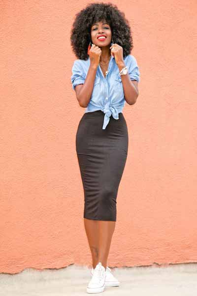 Aneka Jenis Bawahan Wanita Yang Trendi Yang Bisa Kamu Coba - Pencil skirt