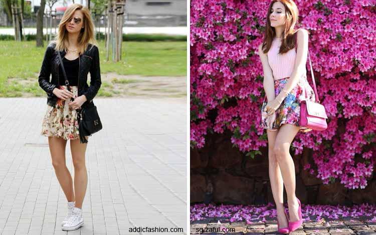 Tampil Fashionable Dengan Rok Mini - Mini floral skirt