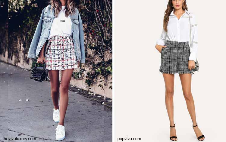 Tampil Fashionable Dengan Rok Mini - Mini tweed skirt